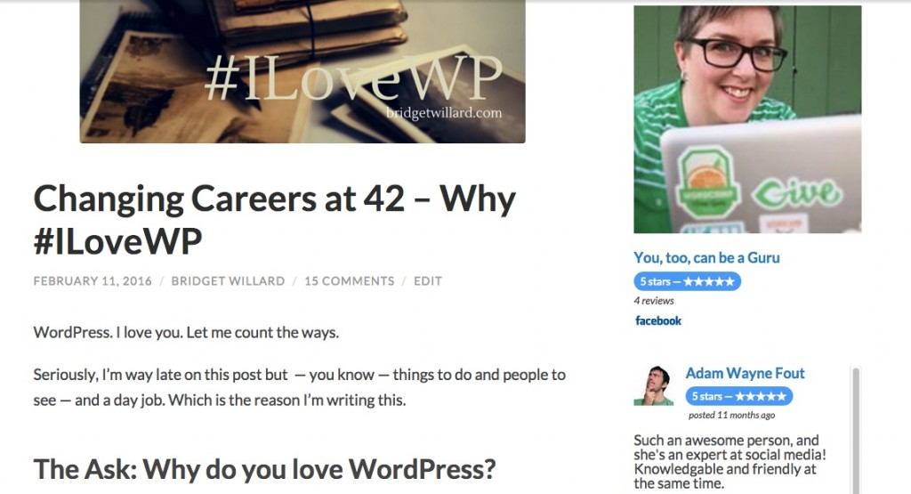 You can see Facebook Reviews Pro live in action on the sidebar of my blog at bridgetwillard.com/blog.