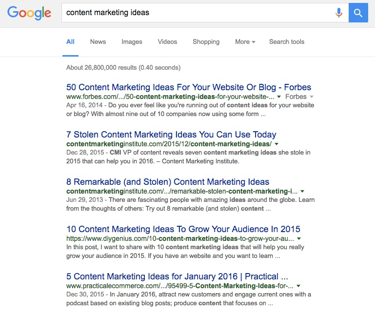 """Do these results for """"content marketing ideas"""" surprise you? They are all numbered."""