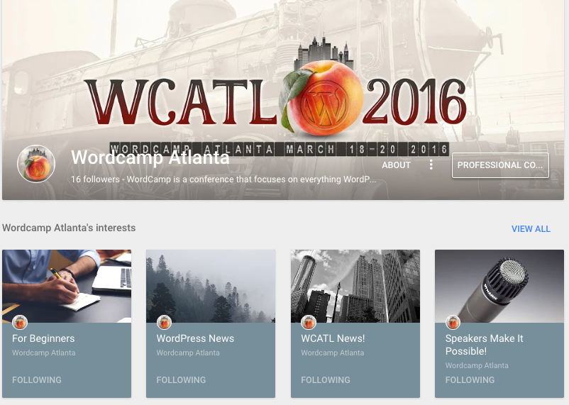 WordCamp Atlanta is maximizing their G+ Page by adding community-related content.