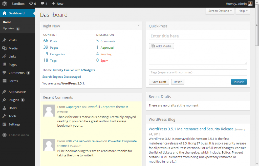 Metro WordPress Admin UI